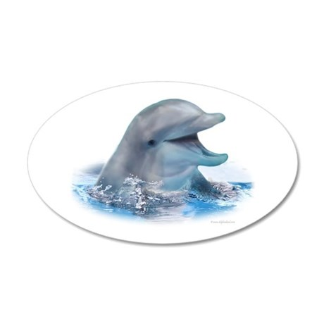 Happy Dolphin 20x12 Oval Wall Peel