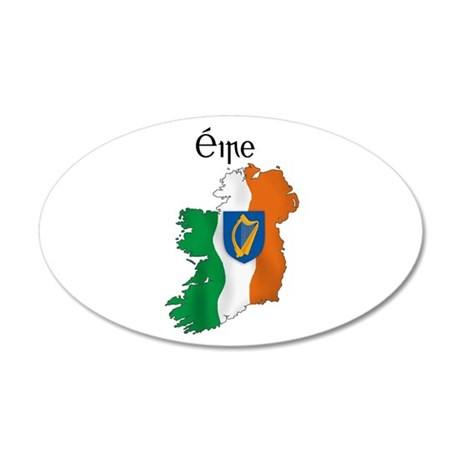 Ireland flag map 20x12 Oval Wall Peel