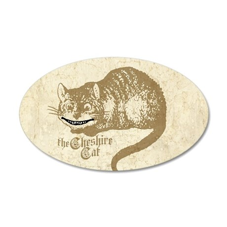 Vintage Cheshire Cat Image 35x21 Oval Wall Peel
