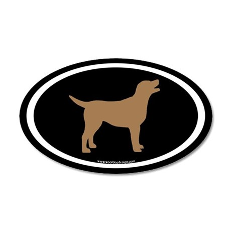 chocolate lab oval (wh/br/blk) 20x12 Oval Wall Pee