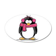 Pink Earmuff Penguin 20x12 Oval Wall Peel