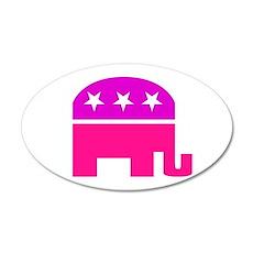 GOP Pink Elephant 20x12 Oval Wall Peel