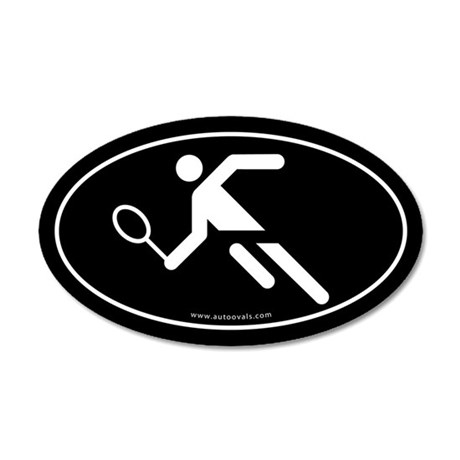 Tennis Player Auto Decal -Black (Oval)