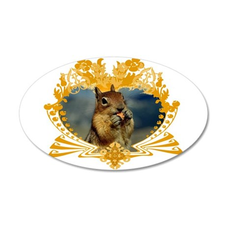 Squirrely Squirrel Crest 35x21 Oval Wall Peel