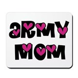 Army Mom Pink Hearts Mousepad