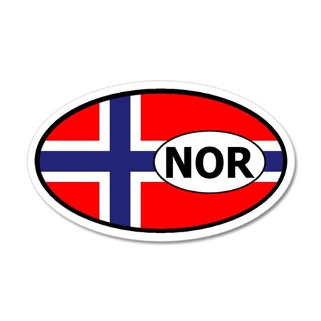 Norway flag 20x12 Oval Wall Peel