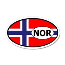 Norway flag 35x21 Oval Wall Peel