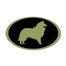 Sage & Black Collie 20x12 Oval Wall Peel