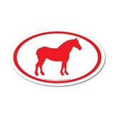Draft Horse Oval (red) 20x12 Oval Wall Peel