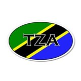 Tanzanian Flag 20x12 Oval Wall Peel