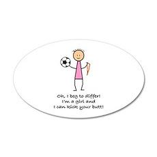 Girls Soccer 20x12 Oval Wall Peel