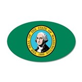 Washington State Flag 35x21 Oval Wall Peel