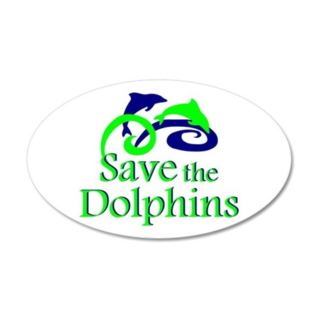 Save the Dolphins 20x12 Oval Wall Peel