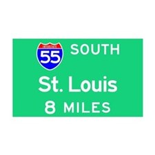 St. Louis MO, Interstate 55 South Sticker (Rectang