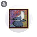 "Swallow Pigeon Framed 3.5"" Button (10 pack)"