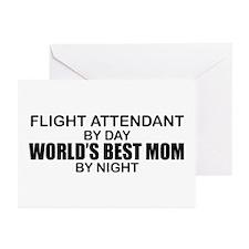 World's Best Mom - FLIGHT ATTENDANT Greeting Cards