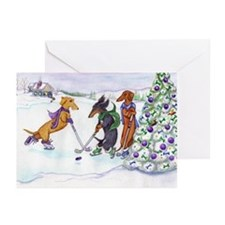 Ice Hockey Dachsies Greeting Cards (Pk of 20)