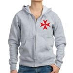Red Maltese Cross Women's Zip Hoodie