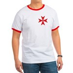 Red Maltese Cross Ringer Tee