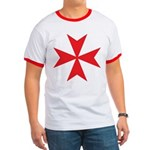 Red Maltese Cross Ringer T