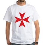 Red Maltese Cross White T-Shirt