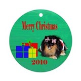 2010 Christmas Pomeranian Ornament (Round)