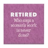 Retired Woman Tile Coaster
