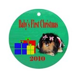 Baby's First Christmas Raccoon Ornament (Round)