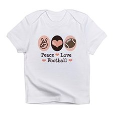 Pink Brown Peace Love Football Infant T-Shirt