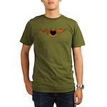 Flame Heart Tattoo Organic Men's T-Shirt (dark)