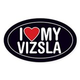 I Love My Vizsla Sticker/Decal (Oval)