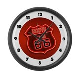 Route 66 Neon Large Wall Clock