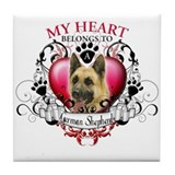 My Heart Belongs to a German Shepherd Tile Coaster