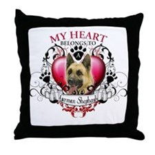 My Heart Belongs to a German Shepherd Throw Pillow