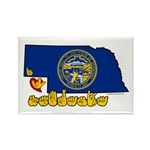 ILY Nebraska Rectangle Magnet