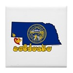 ILY Nebraska Tile Coaster