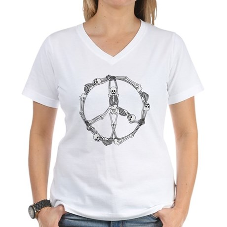 Peace Skeletons Women's V-Neck T-Shirt