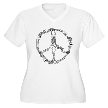 Peace Skeletons Women's Plus Size V-Neck T-Shirt