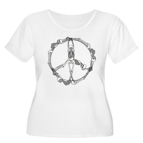 Peace Skeletons Women's Plus Size Scoop Neck T-Shi