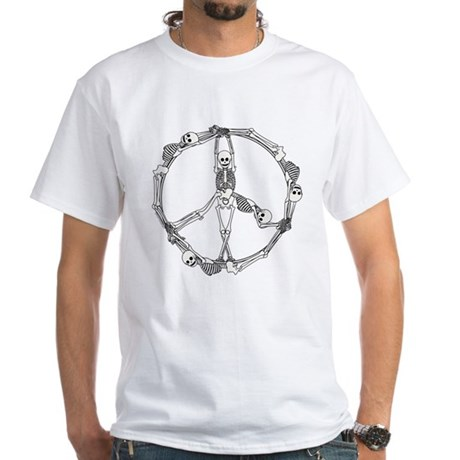 Peace Skeletons White T-Shirt