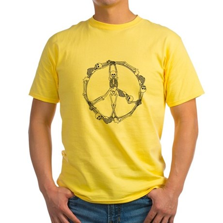 Peace Skeletons Yellow T-Shirt