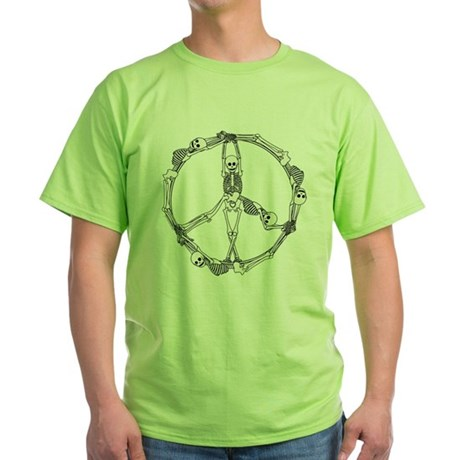 Peace Skeletons Green T-Shirt