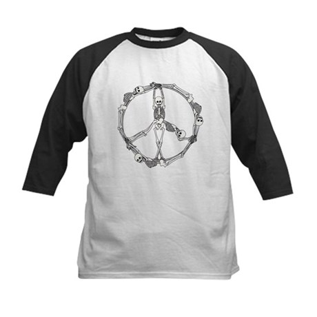 Peace Skeletons Kids Baseball Jersey