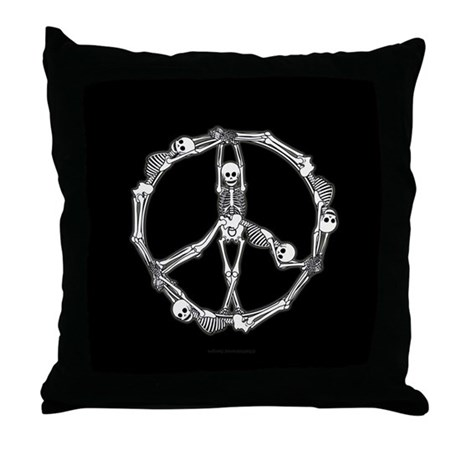 Peace Skeletons Throw Pillow