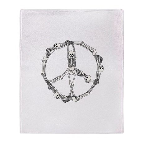 Peace Skeletons Throw Blanket
