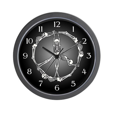 Peace Skeletons Wall Clock