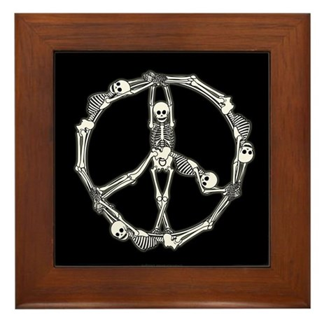 Peace Skeletons Framed Tile