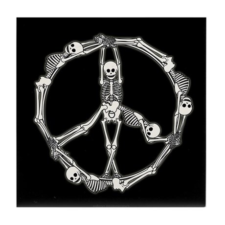 Peace Skeletons Tile Coaster