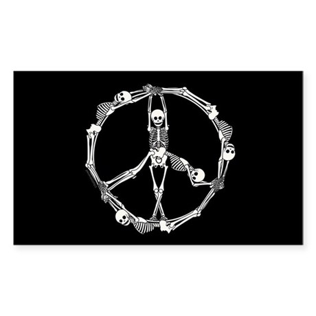 Peace Skeletons Sticker (Rectangle 50 pk)