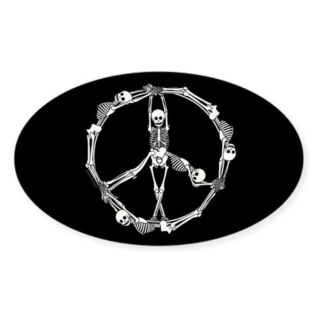Peace Skeletons Sticker (Oval)